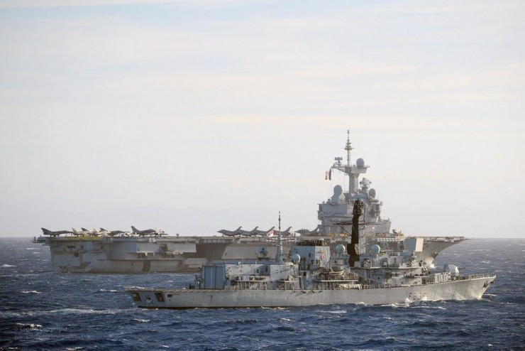 HMS Northumberland with French Aircraft Carrier Charles de Gaulle