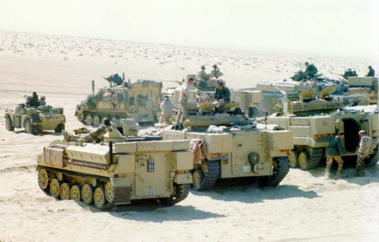 FV 432-series armored personnel carrier left foreground 2 warrior Infantry Fighting Vehicles right foreground, Company C, 1st Battalion, The Staffordshire Regiment (1st [UK] Armoured Division) live fire training exercise, 6 January 1991