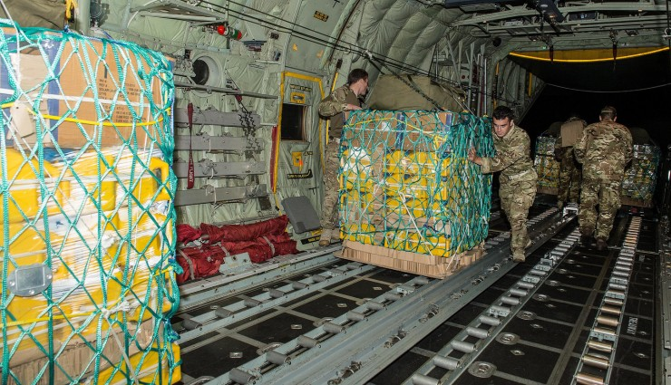 UK aid being loaded on to a RAF Hercules C130 at RAF Brize Norton, Oxfordshire