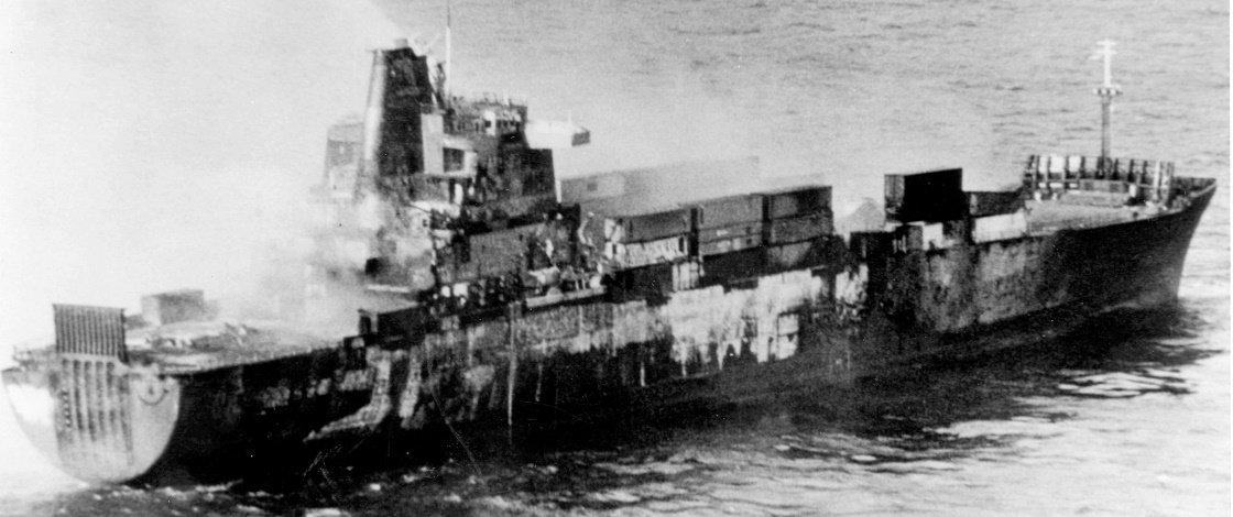 Atlantic Conveyor after the attack 02